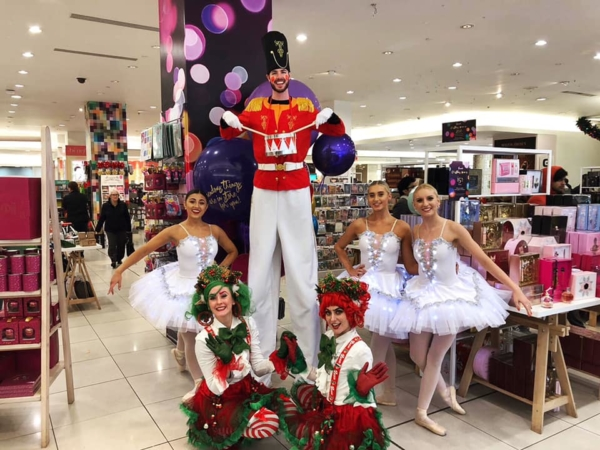 Ballet, Stilt Walker and Holly & Ivy at Fenwick, Newcastlr