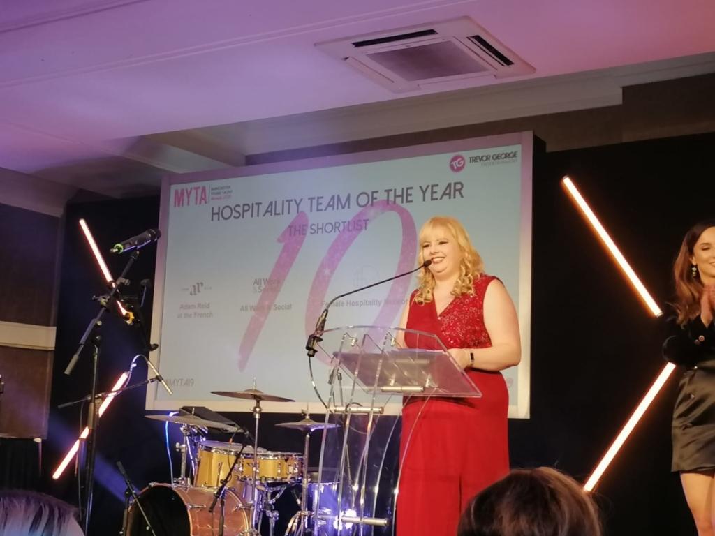 Beckie presenting an award at MYTAs 19
